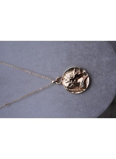 Stoneage Altın Kaplama Madalyon Kolye Altın